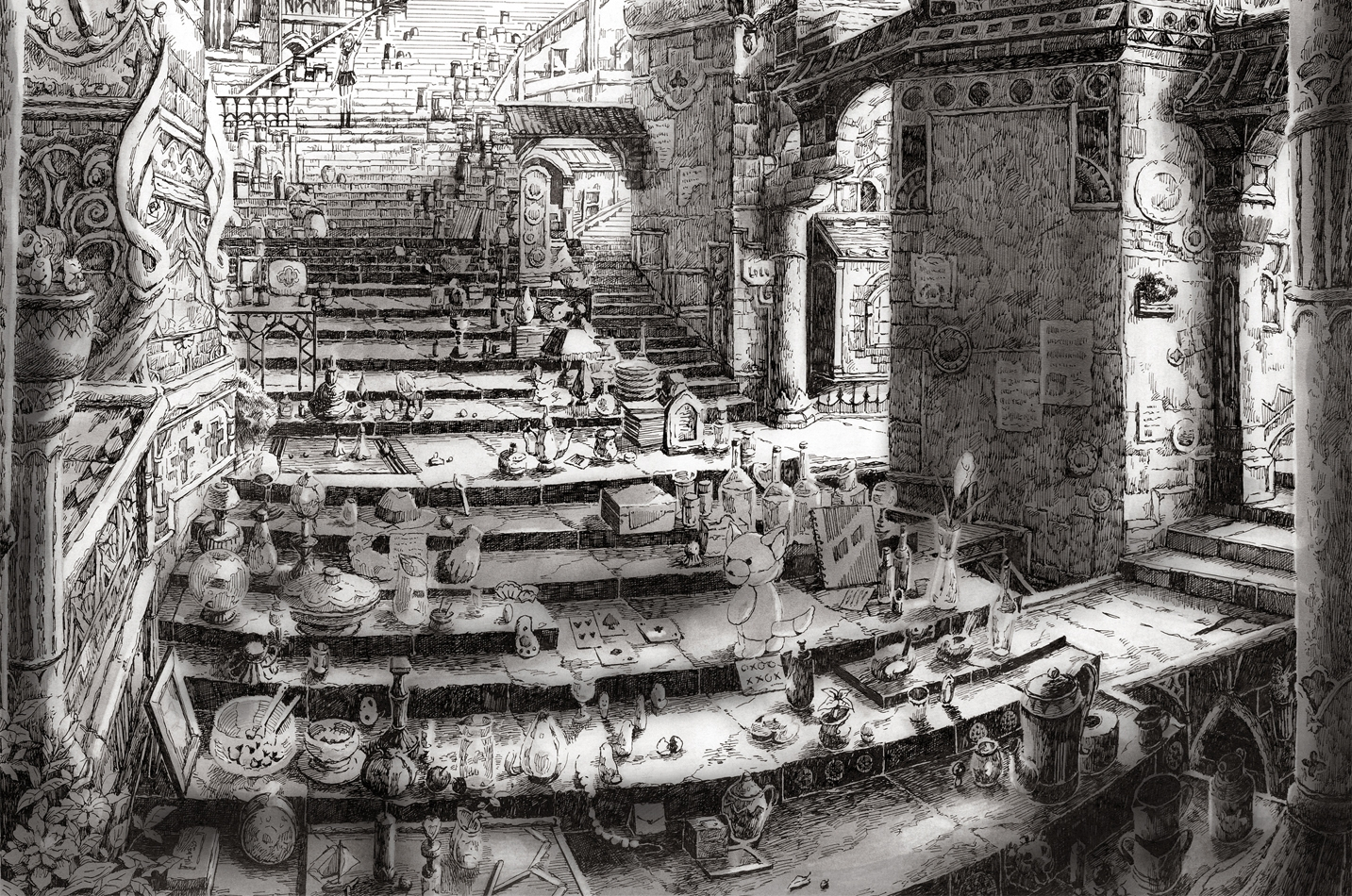 22-Precious-Chaos-Mita-Mitauzo-実-田-く-ら-Intricate-Japanese-Architectural-Drawings-www-designstack-co