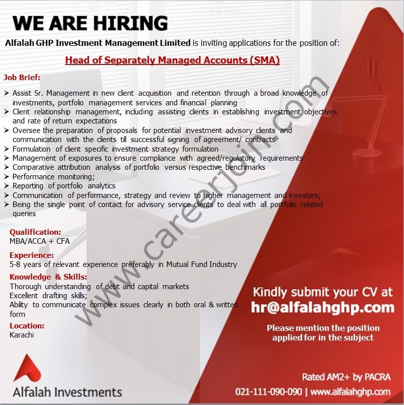Alfalah GHP Investment Management Ltd Jobs Head of Separately Managed Accounts (SMA)
