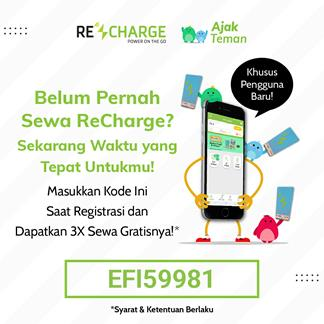 kode referal sewa powerbank recharge