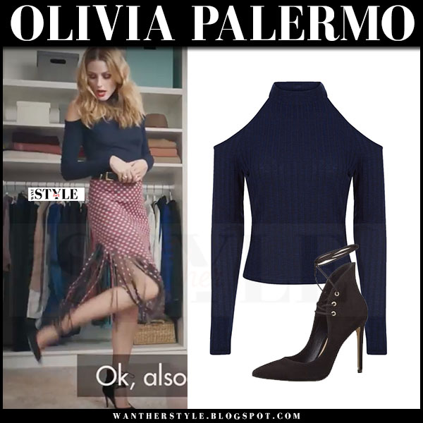Olivia Palermo in navy cold shoulder new look top and red polka dot skirt mr butler amazon video what she wore