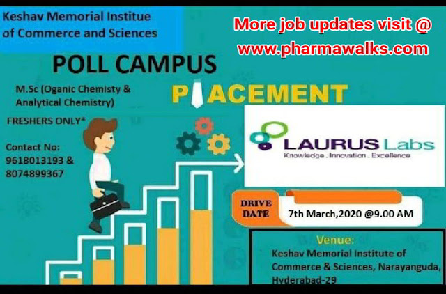 Laurus Labs conducting Campus drive for Freshers on 7th March, 2020