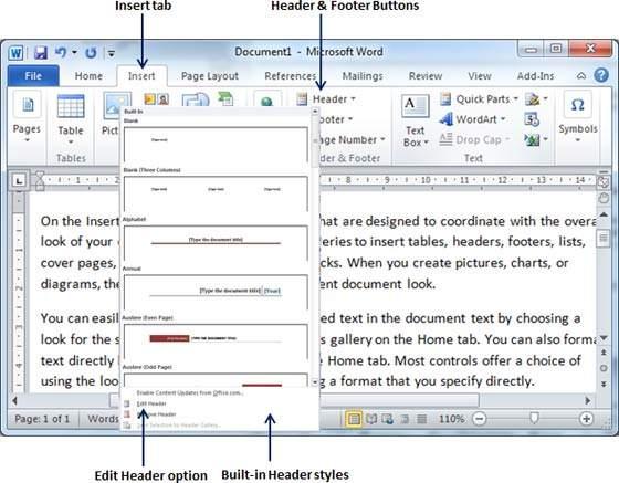 Cara membuat header dan footer di ms word 2010
