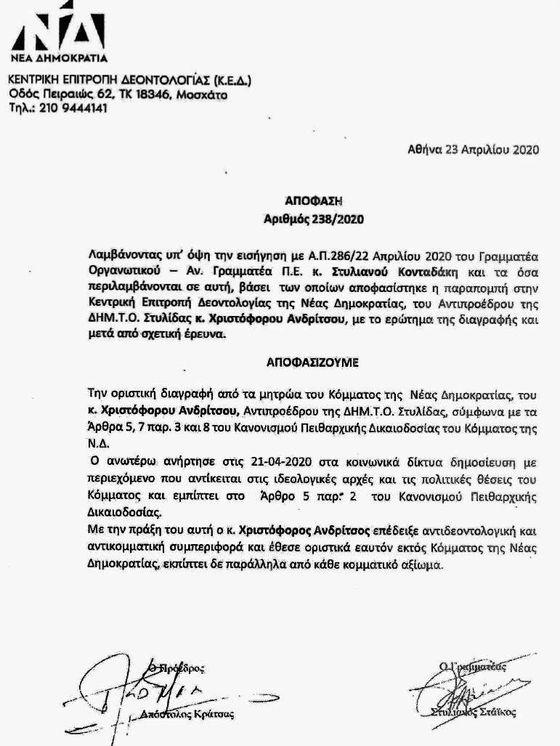 Στυλίδα: Διαγράφεται από τη Νέα Δημοκρατία ο Χριστόφορος Ανδρίτσος