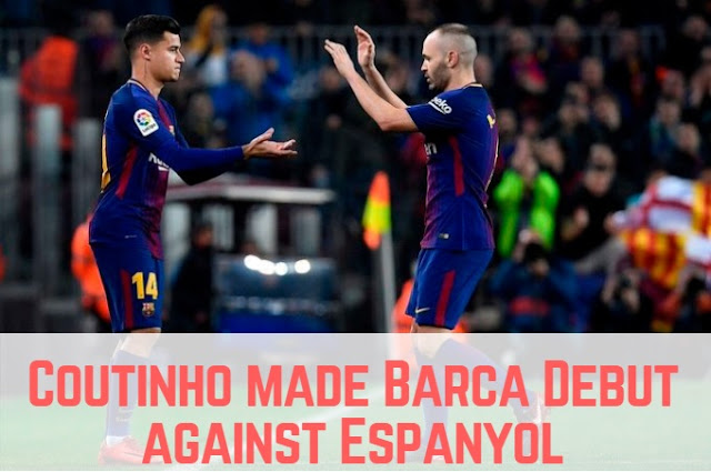 Philippe Coutinho replaces Andres Iniesta to make his Barca debut