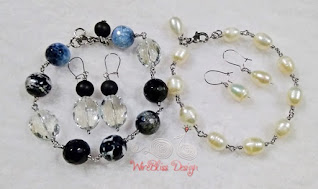 Two wire wrapped bracelets and earrings