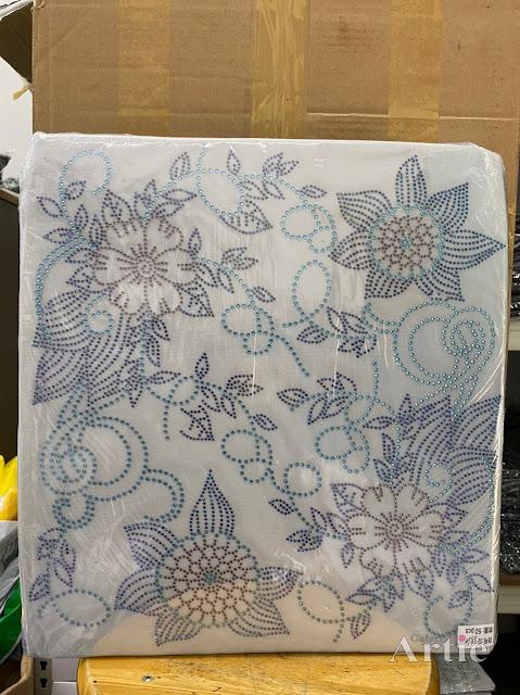 Hotfix stickers dmc rhinestone aplikasi tudung bawal fabrik pakaian 2 bunga raya silver biru dark blue