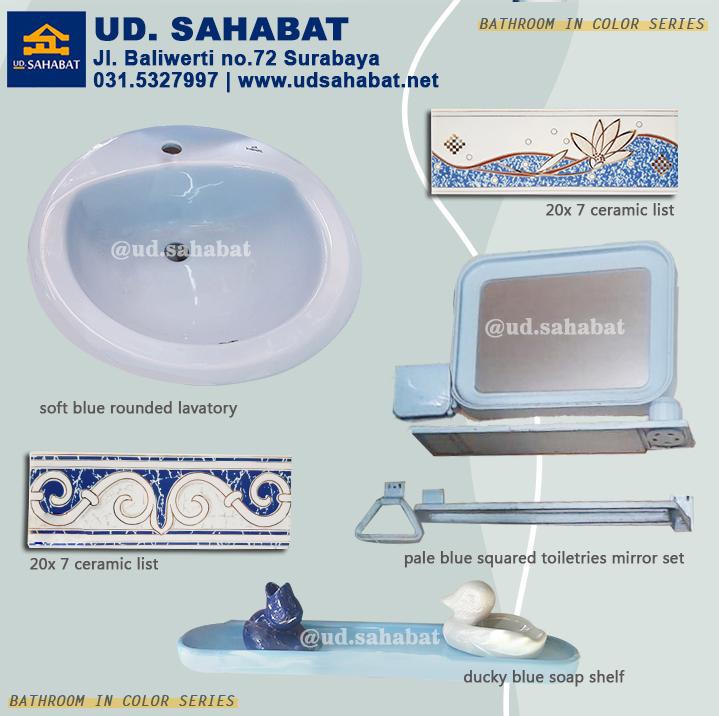 jual perlengkapan kamar mandi serba biru wastafel kloset surabaya