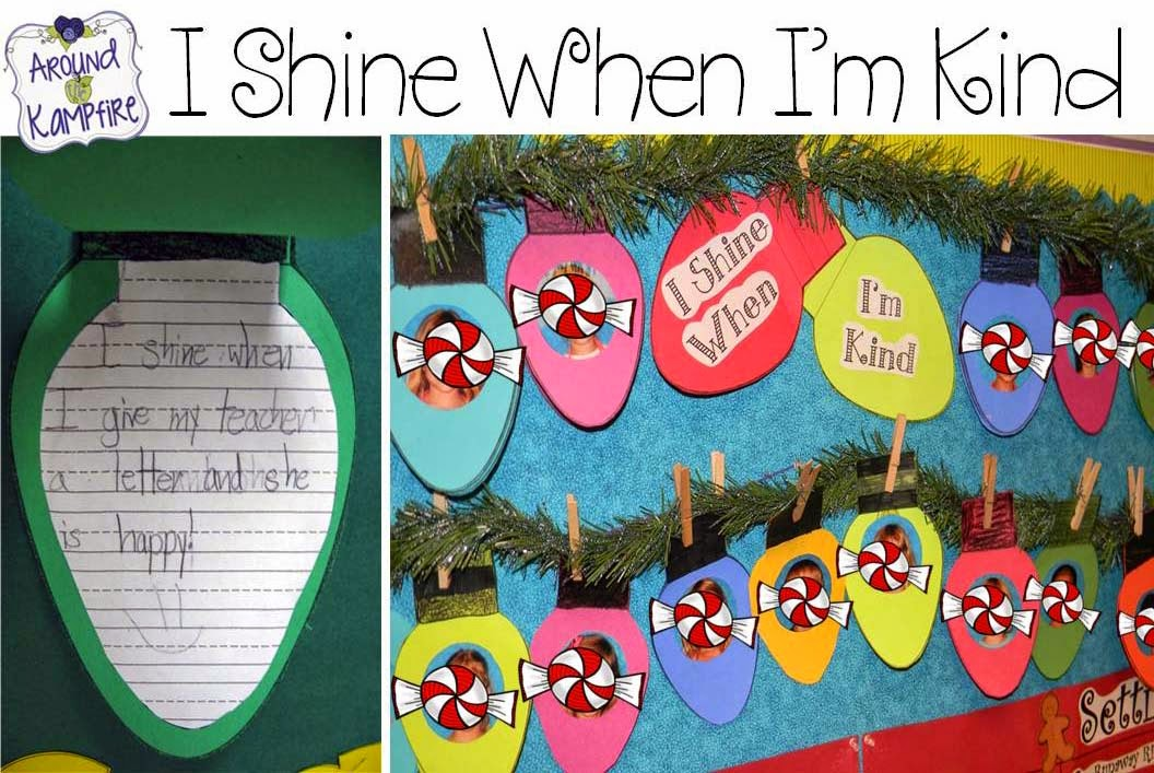 Writing about kindness with I Shine When I'm Kind bulletin board display