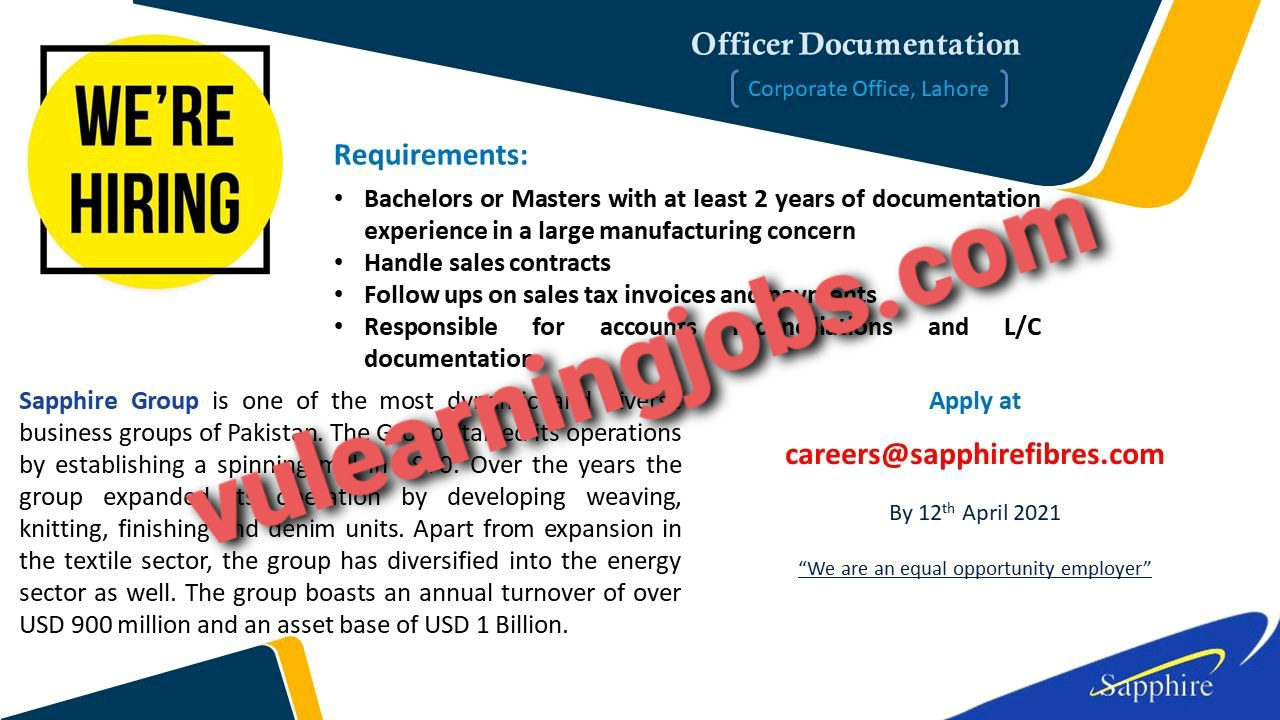 Sapphire Group April Jobs In Pakistan 2021 Latest | Apply Now