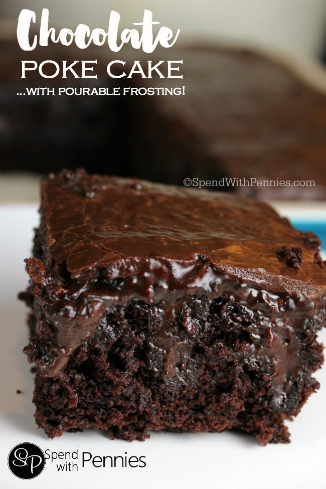 Chocolate Poke Cake Made From Scratch