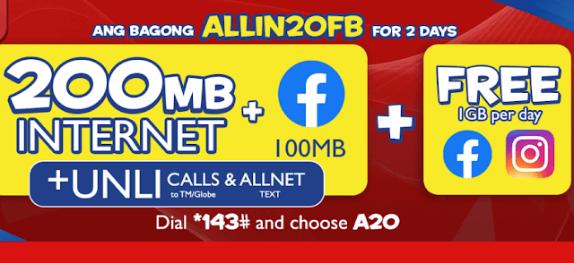 List of TM ALLIN20 Promos : Unli Call and Text + Data