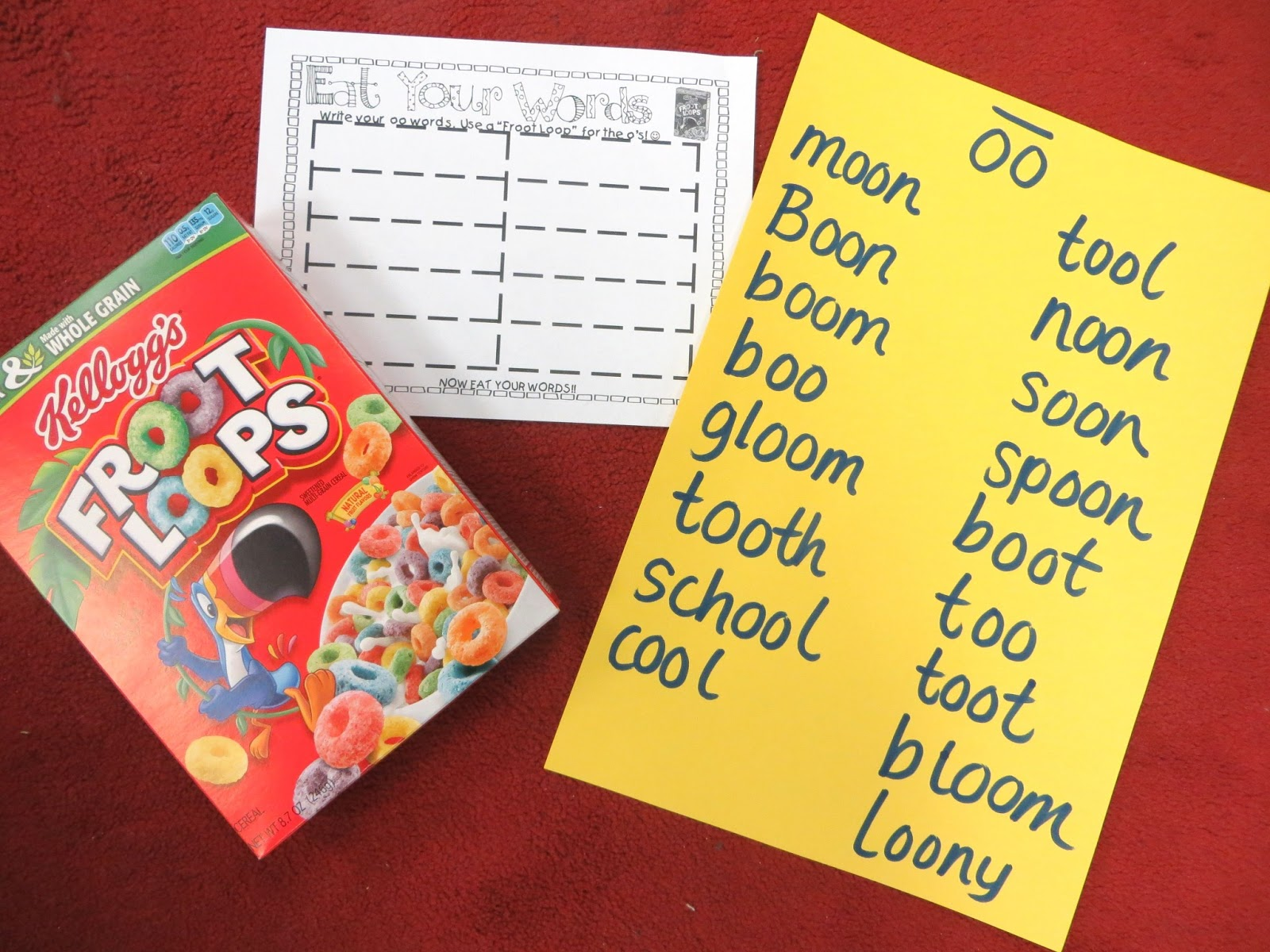 First Grade Wow Eat Your Oo Words Froot Loops