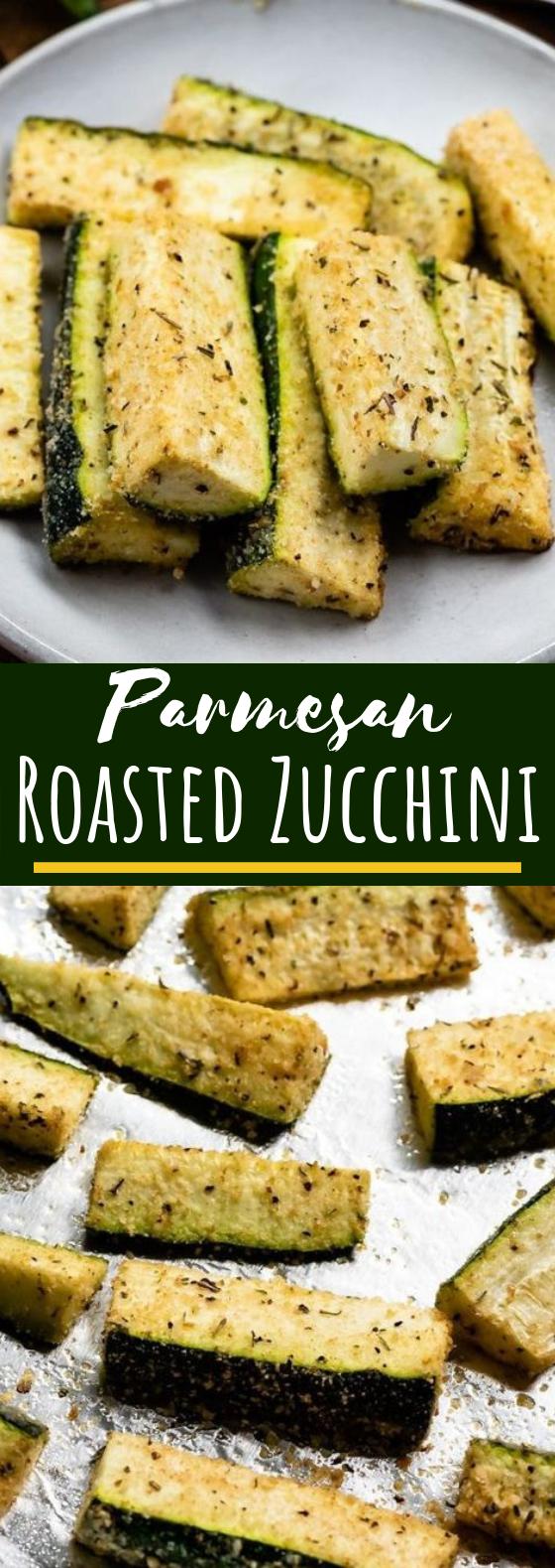 Parmesan Roasted Zucchini #healthy #vegetarian