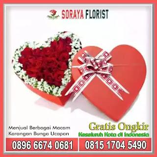 Rangkaian Bunga Box Love Cantik Dengan Bunga Mawar