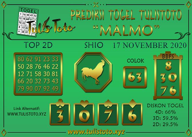 Prediksi Togel MALMO TULISTOTO 17 NOVEMBER 2020