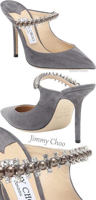 Jimmy Choo Bing pearl bejeweled grey suede mules #brilliantluxury