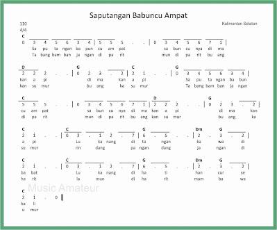 not angka lagu saputangan babuncu ampat