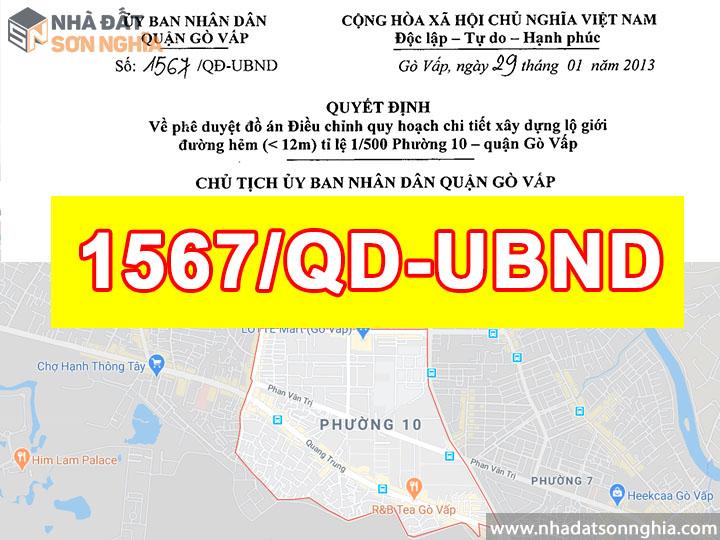 Quyết định số 1567/QĐ-UBND quy hoạch lộ giới đường hẻm tỉ lệ 1/500 phường 10 quận Gò Vấp