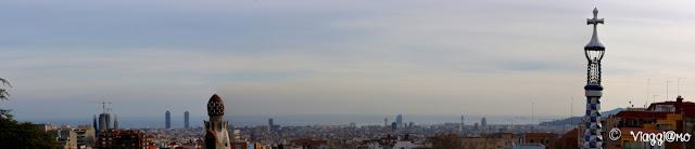 Vista panoramica di Barcellona dal Park Guell