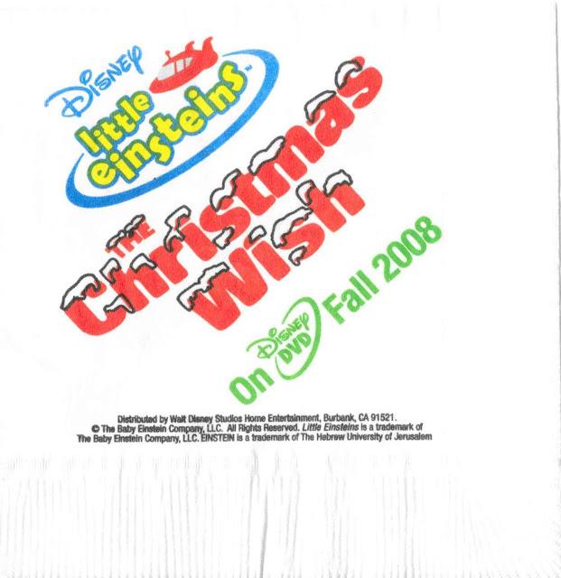 Little Einsteins Christmas Magic Kingdom Napkin 2008