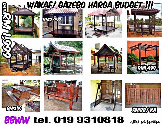 beli harga gazebo kayu murah di Terengganu