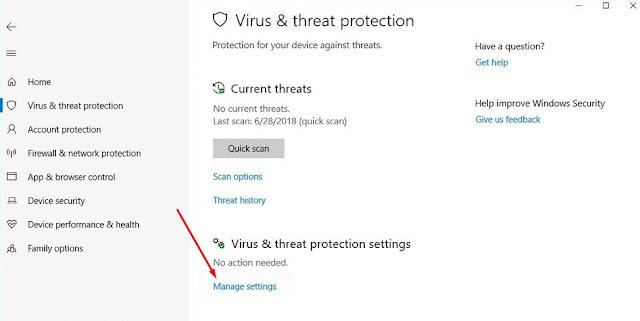 Virus & threat protection settings