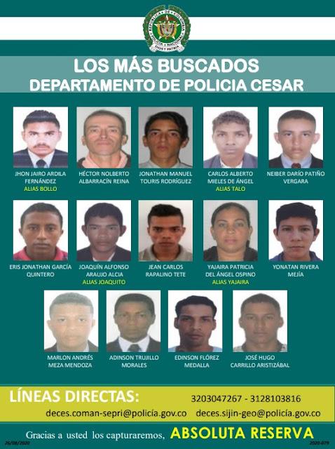 https://www.notasrosas.com/Policía del Cesar lanza el 'Cartel De Los Más Buscados'