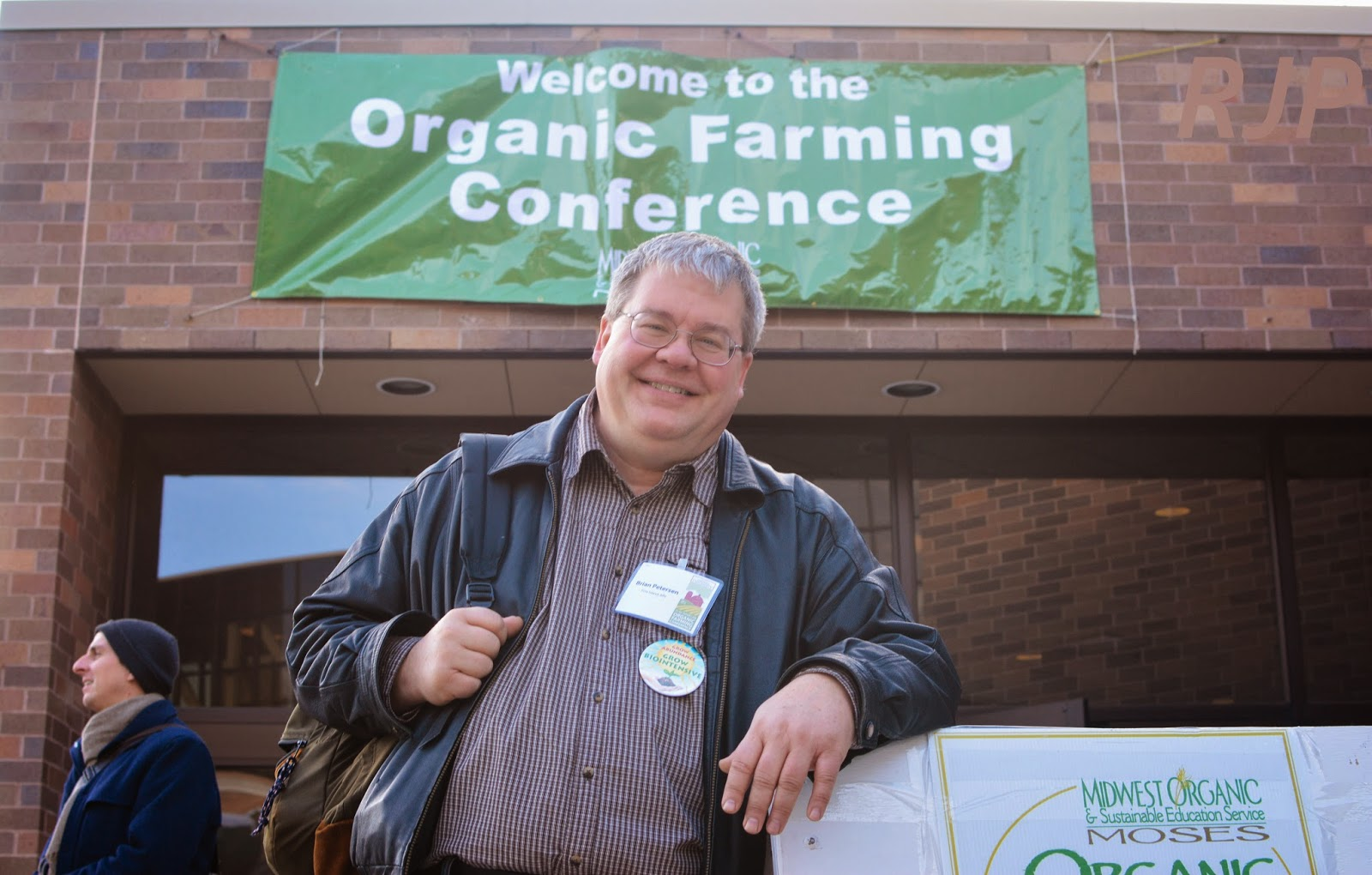 Brian in his happy place at the Organic Farming Conference. Credit: Reed Petersen