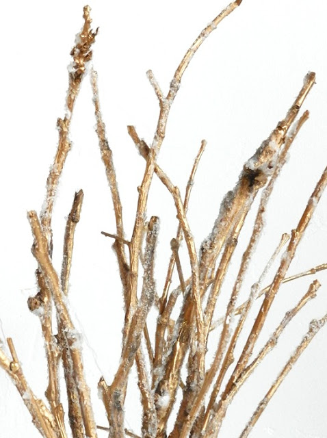 Golden Frosted Holiday Twig Decor