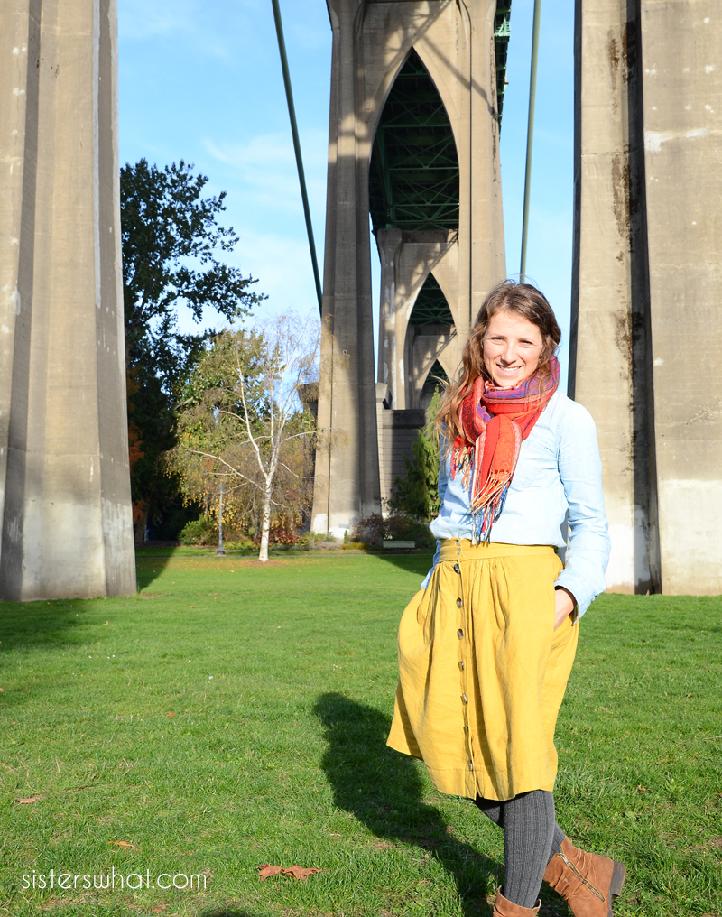 diy gathered skirt cathedral park pdx