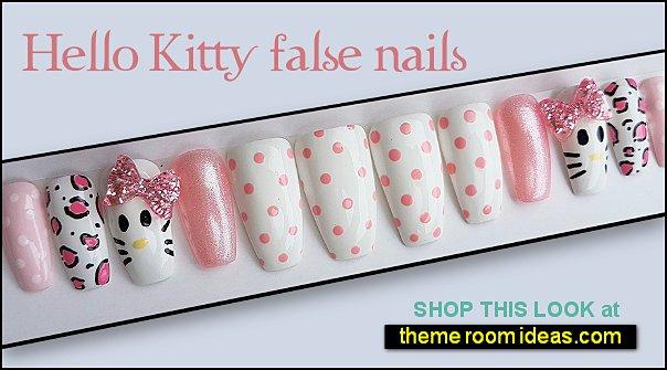 Hello Kitty False Nails kitty cat nails hello kitty nail designs hello kitty nail art cat nail decorations