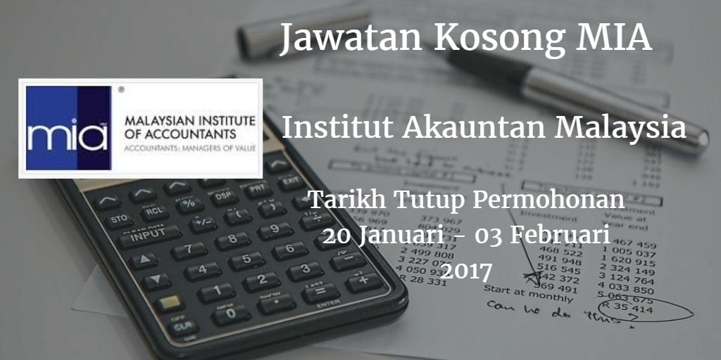 Jwatan Kosong MIA 20 Januari - 03 Februari 2017