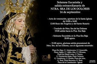 Horario e Itinerario de la Salida Procesional de la Virgen de los Dolores de Maracena