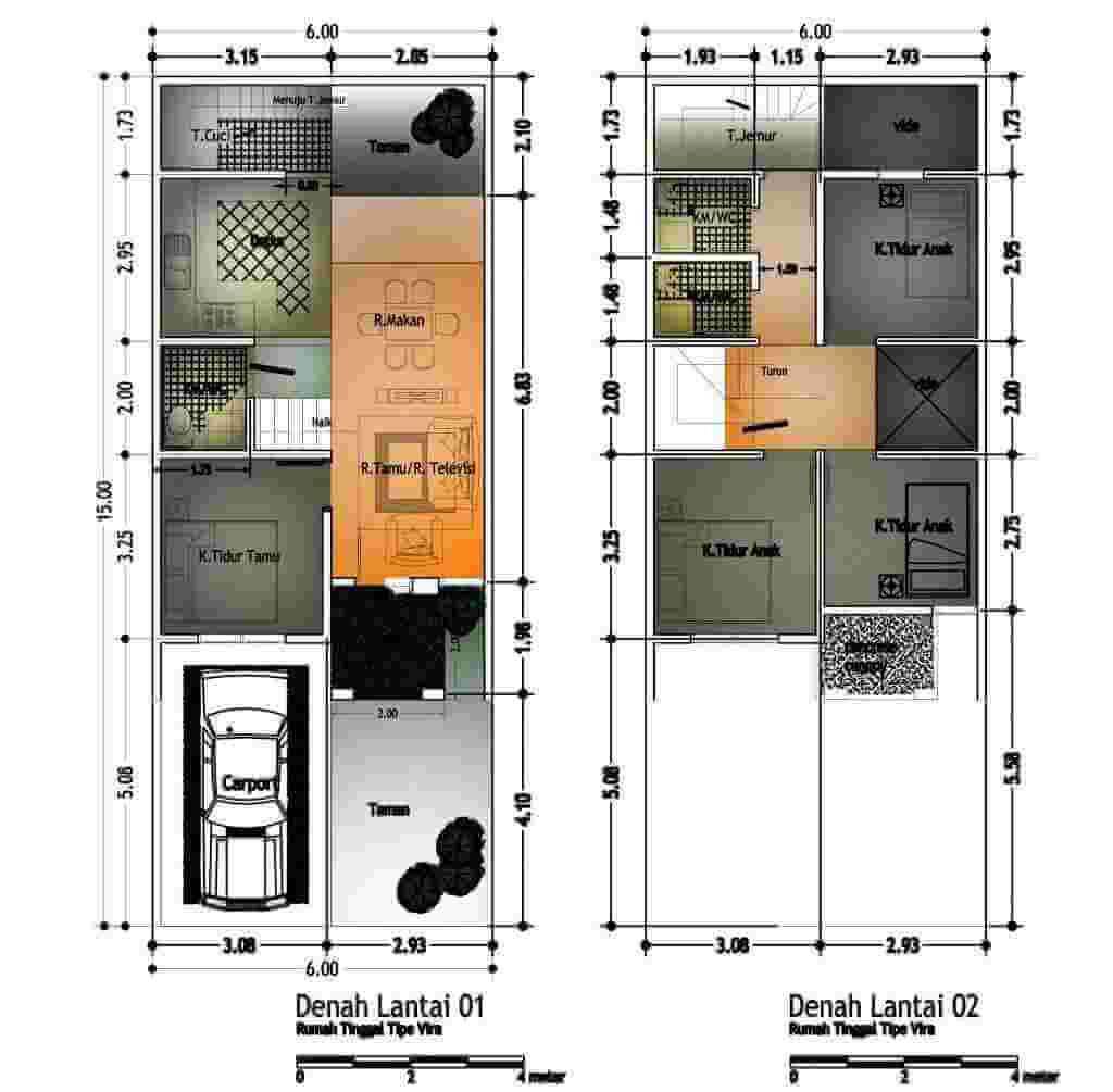 Denah Desain Rumah Memanjang Ke Belakang Lantai 1 dan Lantai dengan Garasi Mobil Rumah Type Vira