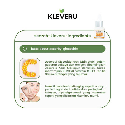 Komposisi KLEVERU Vitamin C 10% Ferulic Serum