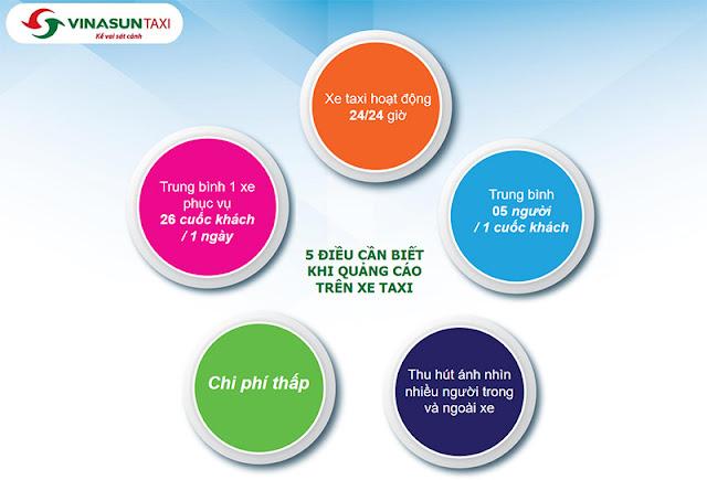 Ưu điểm dán decal quảng cáo trên xe Taxi Vinasun