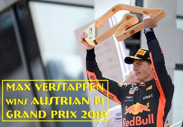 Max Verstappen wins Austrian F1 Grand Prix 2018