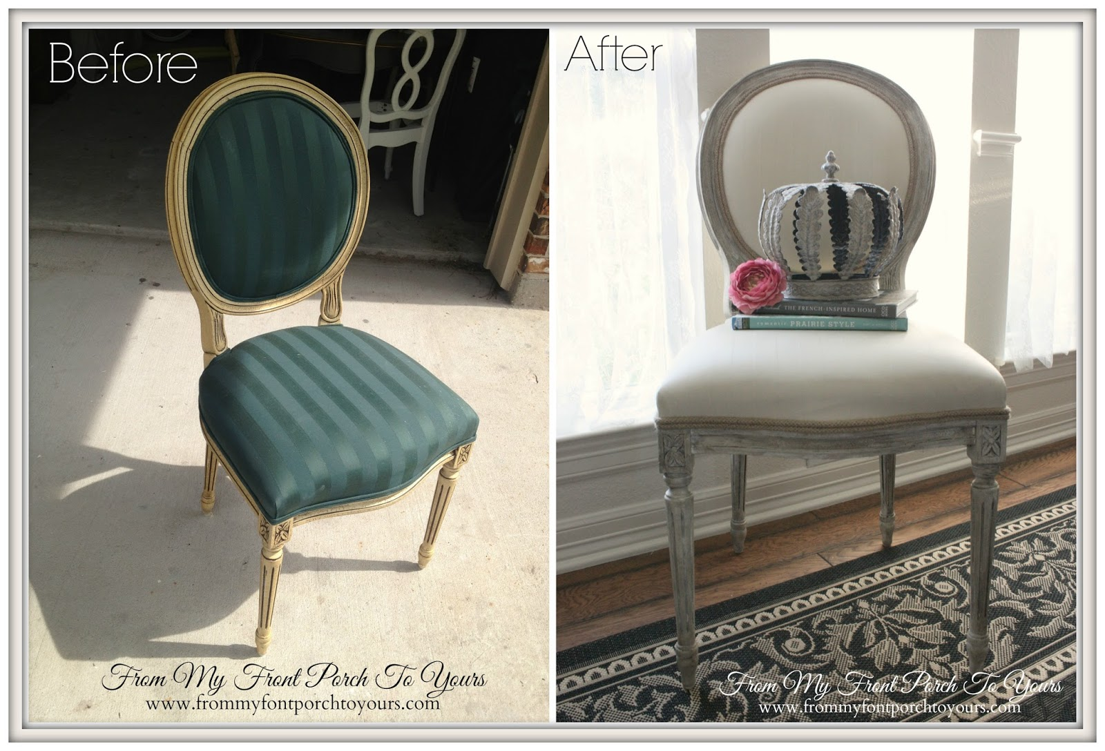 Chalk Paint Painted Fabric Chair-How I Found My Style Sundays- From My Front Porch To Yours