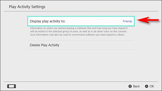 """في إعدادات Nintendo Switch ، حدد """"عرض نشاط التشغيل على""""."""