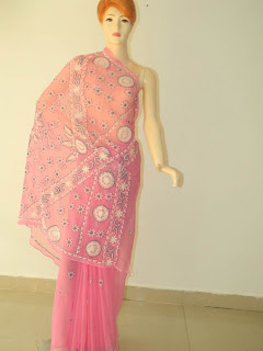 Lucknowi Chikan Pink Georgette Saree