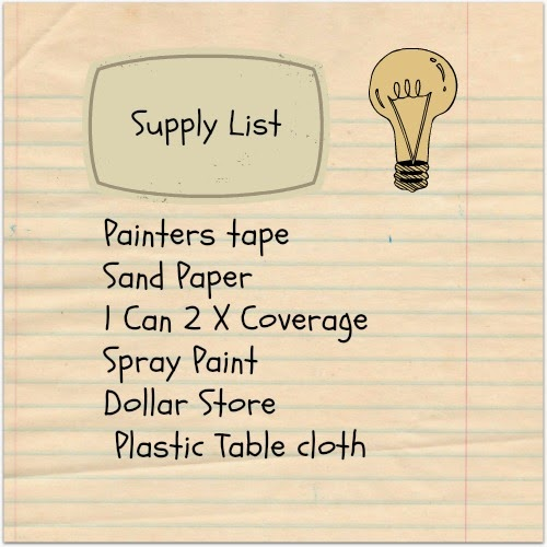 Supply List, Rust-Oleum Gray Spray Paint, Dollar Store Table Cloth, Sandpaper, Painters Tape