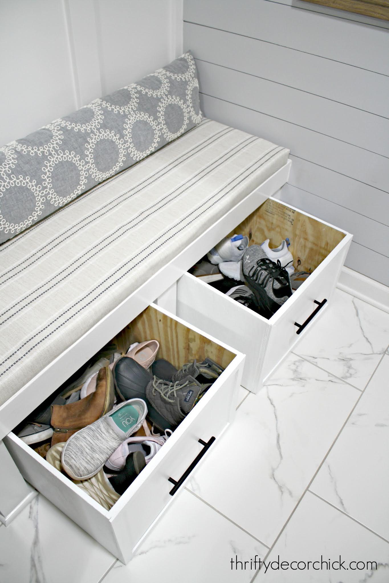 DIY sliding shoe cubby boxes