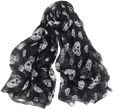 Black Chiffon Skull Scarves Shawls