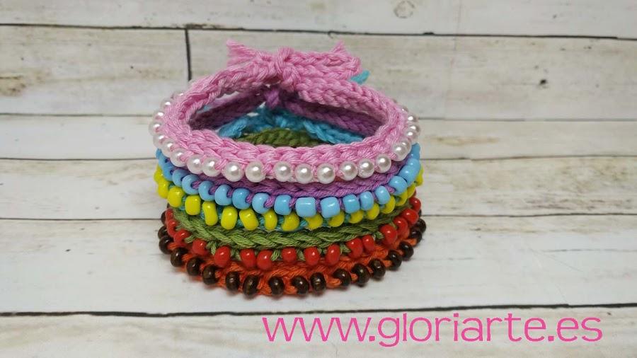 pulseras de crochet con abalorios
