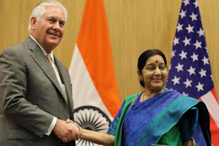 US Secretary of State Rex Tillerson, India's Foreign Minister Sushma Swaraj