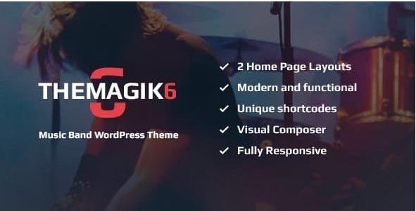 Download Free The Magic 6 v1.6 – Music Band & Musician Artist WordPress Theme