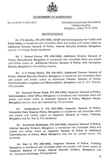Transfer of IPS cadre officers related to superintendent of police and cadre