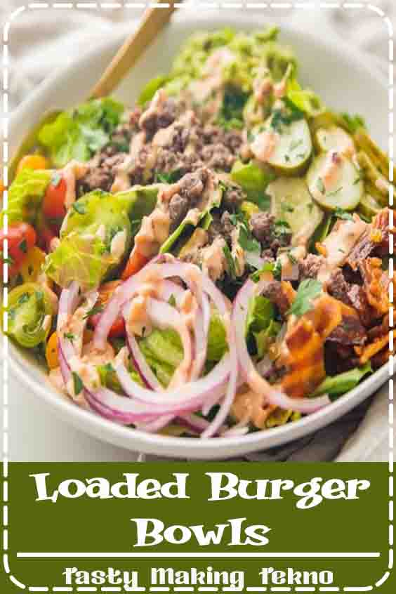 "Loaded burger bowls with pickles, bacon, a quick guacamole, and a ""special sauce""! These low carb burger bowls are Whole30 and paleo, too."