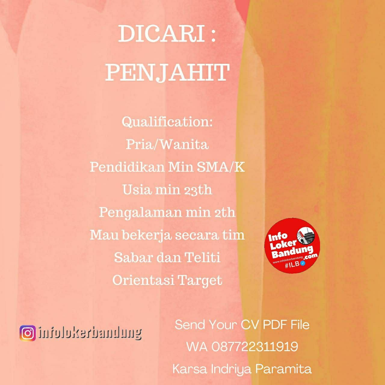 Lowongan Kerja PT. Karsa Indriya Paramita Bandung Januari 2021