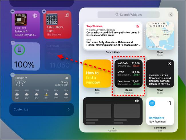 لإضافة عنصر واجهة مستخدم إلى Today View ، انقر عليه واسحبه إلى مكانه على iPadOS 14.